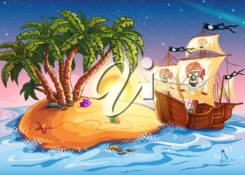 Royalty Free Clipart Image of a Pirate Ship at a Desert Island