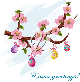 Royalty Free Clipart Image of an Easter Greeting With Eggs and Cherry Blossoms