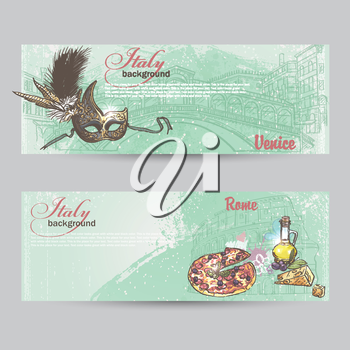 Set of horizontal banners of Italy. Cities of Rome and Venice mask, Pitz, cheese and a can of oil