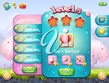 Example of the game window to the task for a computer game on the theme of Valentine's Day