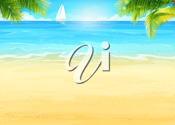 Illustration Summer beach and palm trees on the background of the sea and white sailboat