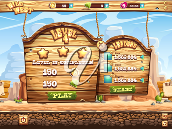 Example of the game window complete the level and receive awards for playing Wild West