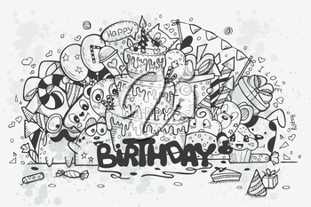 Vector illustration of a hand-drawn doodles on a theme birthday. Birthday cake, rocket gifts and cartoon characters. Black contour