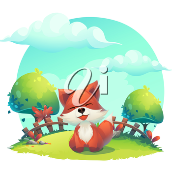 Fox in the grass - a children's cartoon illustration - stylized vector image. For print, create videos or web graphic design, user interface, card, poster.