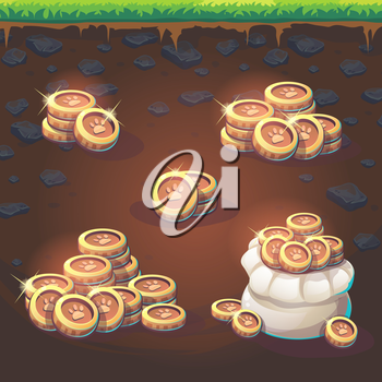 Set coins of Feed the fox GUI match 3 for web video game
