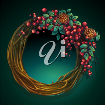 Vector cartoon illustration wreath of vines and leaves on a green background with ash berry and cedar cones