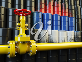 Oil pipe line valve in front of the russian flag on the oil barrels. Iranian gas and oil fuel energy concept. 3d illustration