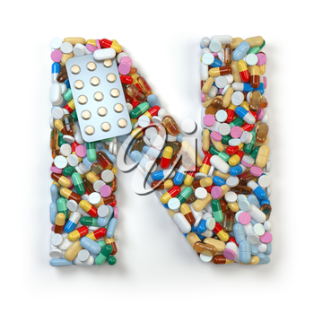 Letter N. Set of alphabet of medicine pills, capsules, tablets and blisters isolated on white. 3d illustration