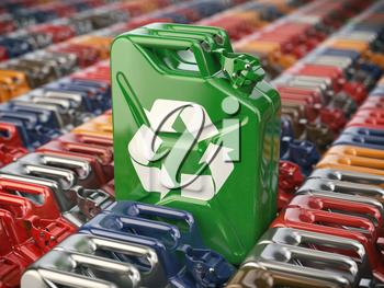 Green jerrycan  with recycle sign against the background of many others cans. Bio fuel, recycling and energy consrevation concept. 3d illustration