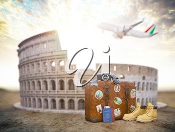 Flight to Rome, Italy.Vintage suiitcase with symbols of Rome Coliseum. Travel and tourism concept. 3d illustration