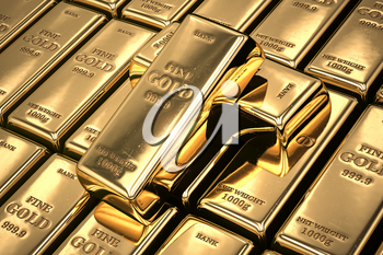 Gold bars or ingots in a row. Financial  and investment concept. 3d illustration