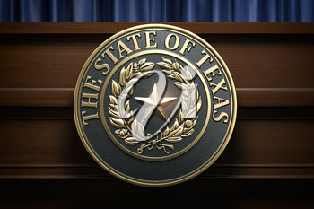 Symbol and big seal of State of Texas on the tribune. Press conference of governor of Texas or others political events of Texas concept. 3d illustration