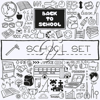 Hand drawn school icons set. Back to school concept. Vector Illustration.