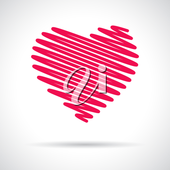 Heart icon. Pink flat symbol with shadow. Design element for Valentine's Day, wedding, baby shower, birthday card etc. Vector illustration.