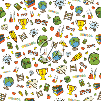 Hand drawn colorful school background, seamless pattern. Back to school concept. Vector illustration