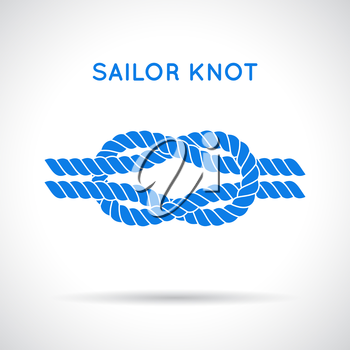 Sailor knot. Nautical rope infinity sign. Single flat icon with shadow. Tying the knot. Graphic design element for wedding invitations, baby shower, birthday card, scrapbooking, logo etc.