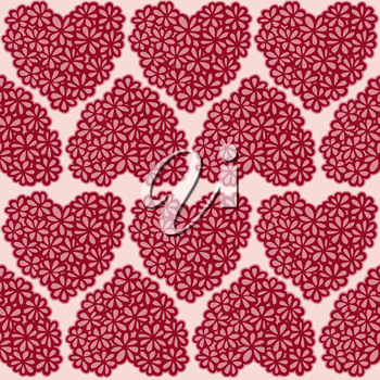 Seamless texture with flower filled hearts. Vector Illustration.