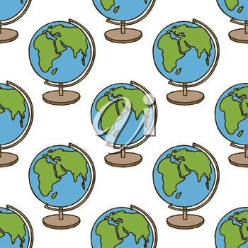 Back to School doodle seamless pattern. Colorful cartoon Earth Globe. Design element for wallpapers, web site background, wrapping paper, sale flyer, scrapbooking etc. Vector illustration