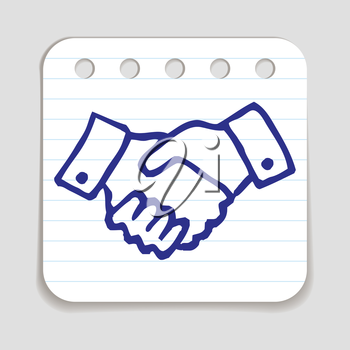 Doodle Shaking Hands icon. Blue pen hand drawn infographic symbol on a notepaper piece. Line art style graphic design element. Web button with shadow. Friendship, agreement, greeting, support concept.