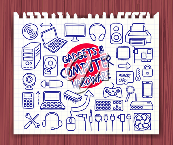 Doodle Gadgets and Computer Hardware icons set. Hand drawn doodle symbols collection. Graphic elements for web sites, corporate printables, educational posters, infogrpahics. Vector illustration.