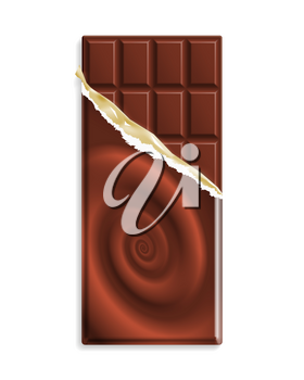 Milk chocolate bar in a wrapper with chocolate swirl, can be replaced with your design. Vector illustration