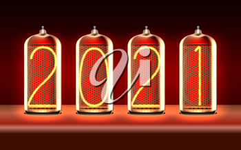 New Year greeting card with 2021 lit up in retro-styled nixie tube indicator lamps, includes transparency. Vector illustration.