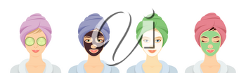 Line of 4 smiling women in a spa with cosmetic peel off face masks, eye patches and towels on their heads, isolated on white. Vector illustration