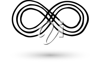 Infinity symbol hand drawn with ink brush. Thin line scribble icon. Modern doodle grunge outline. Cycle, endless, life concept. Graphic design element for card, logo, tattoo. Vector illustration
