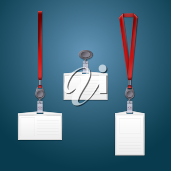 Lanyard, retractor and badge. Templates for your design