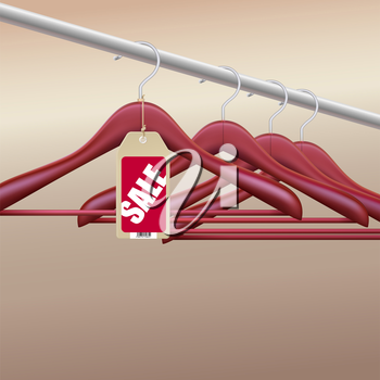 Wooden hangers with red sale tag, label. Vector illustration for your advertising and promotion