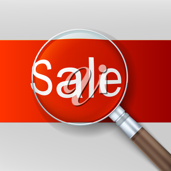 Magnifying glass over red background. Banner ad sale. Vector illustration.