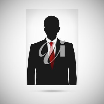 Profile picture whith red tie. Unknown person silhouette, silhouette profile