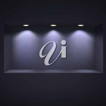 Dark niche for presentations with illuminated light. Drawn with mesh tool. Fully adjustable and scalable, vector illustration.
