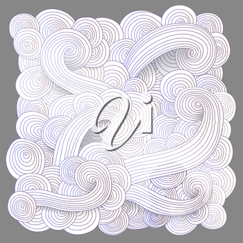 Tangled pattern, waves background. Abstract hand-drawn ornament, vector illustration