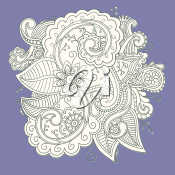 Beautiful decorative floral ornamental sketchy pattern, doodle style