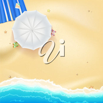 Beach with yellow sand, sea waves, white sun umbrella, mat and flip flops, vector illustration for your design, poster or flyer.
