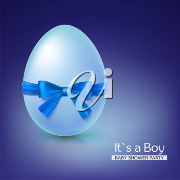 It s a boy baby shower concept with blue ribbon bow and egg. Vector illustration. Party invitation template on blue background.