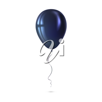 Inflatable air flying balloon isolated on white background. Close-up look at black balloon with reflects. Realistic 3D vector illustration