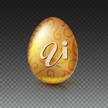 Golden egg with floral pattern. Happy Easter greeting card decorated floral elements on transparent background. Template for vip banners or card, exclusive certificate, luxury voucher