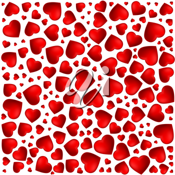 Red, purple heart. Pattern of the icons of hearts in different sizes. Background from 3D volumetric red heart with shadow and reflex on a white background, template for greetings cards.