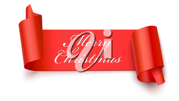 Christmas red banner with greeting text, 3D illustration. New year banner on white backdrop. Realistic red ribbon with wrapped corners.