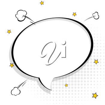 Pop art chat bubble in comics book style, blank layout template with halftone dots, comic speech bubble. Clouds beams and isolated dots pattern. Thoughts bubble in pop art comics style on white.