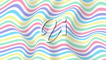 Vector layouts with wavy stripes lines. Minimalistic design of posters. Twisted backgrounds, trendy colors. Abstract optical pattern from lines, halftone effect. Template for banner, cover, postcard
