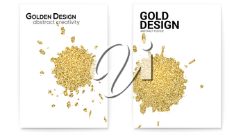 Splashes with glittering effect, golden dust. Set of covers with hand drawn textures. Abstract gold shapes, vector art on white background. Use for posters, invitations, placards, brochures, flyers