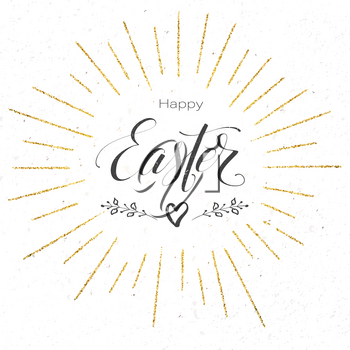 Happy Easter festive greeting card. Design of calligraphy lettering on banner. Vintage handwritten text, doodle with golden glittering rays. Retro label for religious holiday. Vector illustration