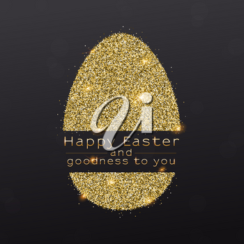 Easter egg with design of greetings text. Glittering symbol of Easter from golden shining dust isolated on black background. Vector template for covers, posters, banners, leaflets.