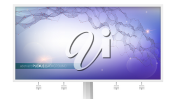 Billboard with abstract digital background. Plexus of communication connection. Structure of virtual reality, DNA. Connected dots and triangular cells. Vector 3D illustration.