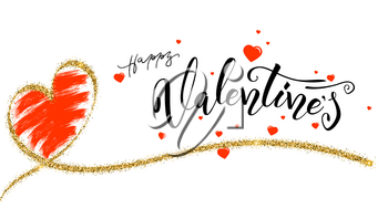 Happy Valentines day, typography poster with modern calligraphy. Hand drawn brush pen heart with effect of golden glitter and design of text lettering isolated on white background