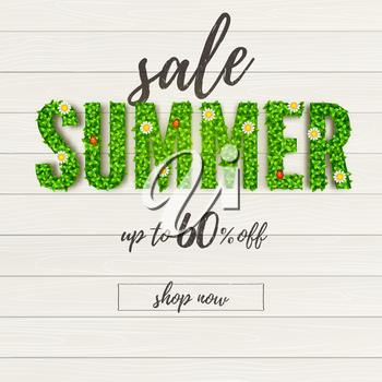 Summer sale. Handwriting text of ad banner on wooden planks background. 3d text Summer from green leafs and flowers. Get up to 60 percent discount. Template for discount and promo actions.