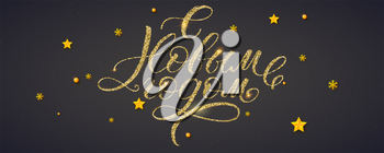 Happy New Year Russian calligraphy with golden glowing. Christmas Cyrillic lettering for holidays greetings. Golden snowflake stars and balls. Vector decorative pattern with glitter. Ready to print.